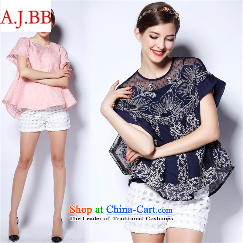 Orange Tysan *2015 European site new summer for women in Europe high-end state-soo lace leave two kits short-sleeved T-shirt with round collar pink?S