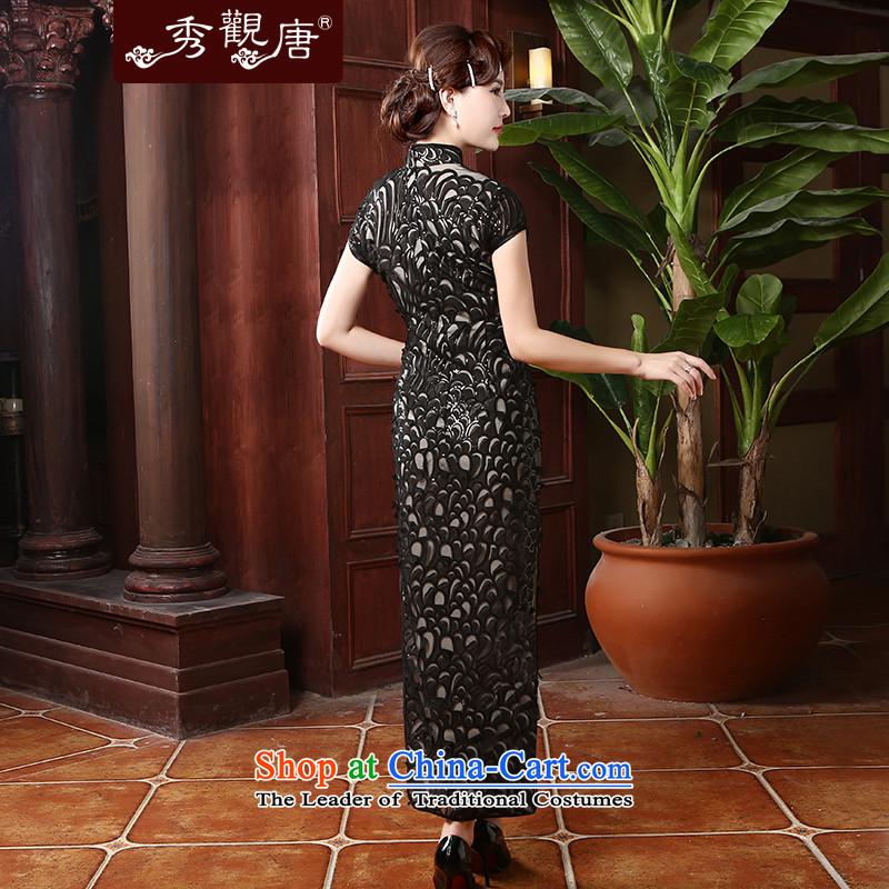 [Sau Kwun Tong] acknowledge the 2014 Summer Dream New Long cheongsam look good retro qipao skirt QD4703 black longXXXL, Sau Kwun Tong shopping on the Internet has been pressed.