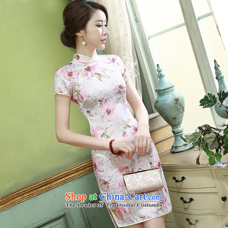 Short-sleeved skirt?2015 new summer of daily short, short-sleeved thin cheongsam Q1099 Sau San video pink?XXL