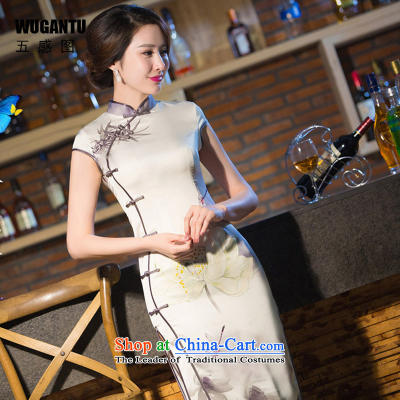 The five senses Figure Sau San sexy upscale long cheongsam dress Lotus 2015 New China wind of ethnic dress retro qipao girl�S Suit
