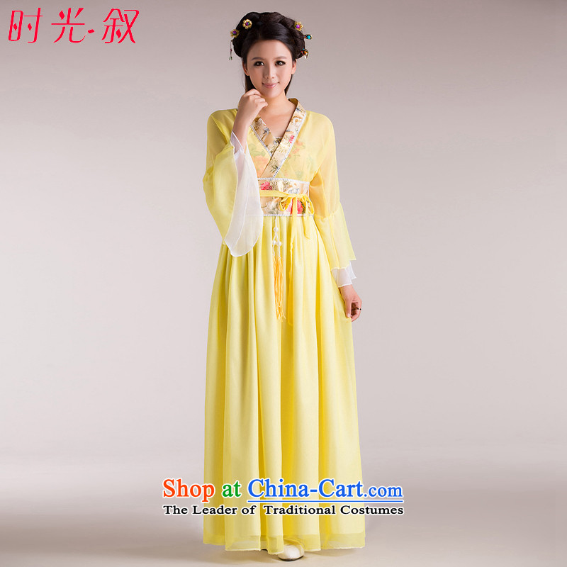 Time Syrian costume clothing fairies skirt Han-female Bruce Arena sexy female performances serving a seven-gwi load fairies guzheng pipa guqin photography Halloween Photo Album yellow L