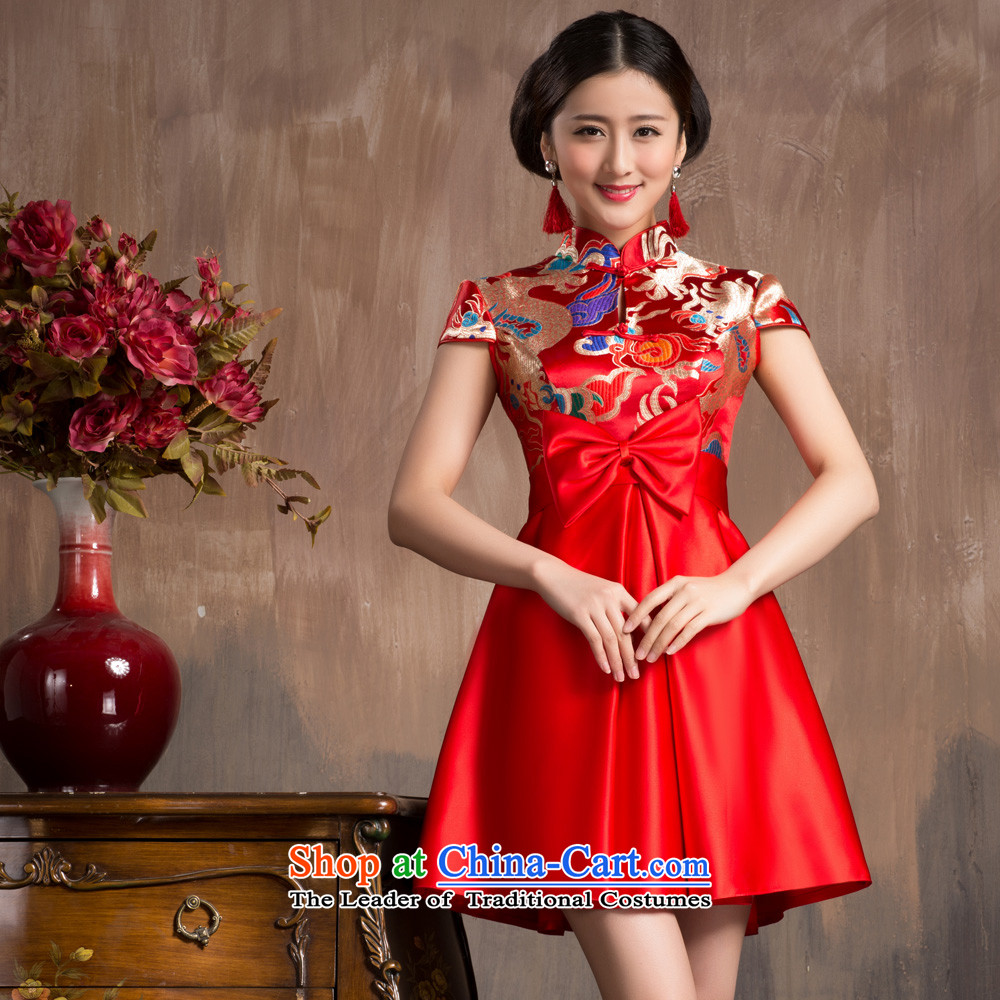 Non-you do not marry 2015 new wedding dress CHINESE CHEONGSAM with Korean improved Top Loin of pregnant women serving upscale bows Yun Jin embroidery red Wedding Dress Short-sleeved top loin short skirt 4XL