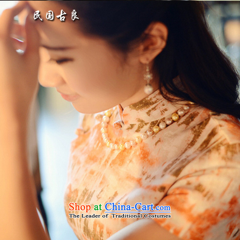 The Republic of Korea guryan in spring and summer 2015 new product literature and art nouveau female plain linen short-sleeved short of cotton linen improved cheongsam dress rolling Huangshan?M