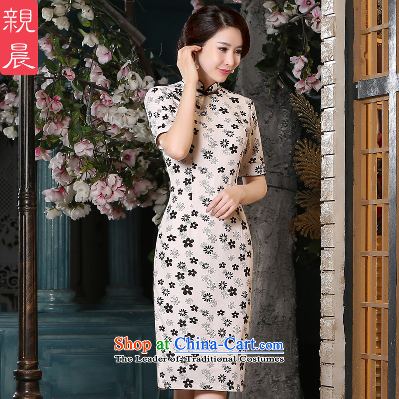 The pro-am new cotton linen cheongsam dress 2015 Summer retro improved fashion, Ms. long cheongsam dress in long L