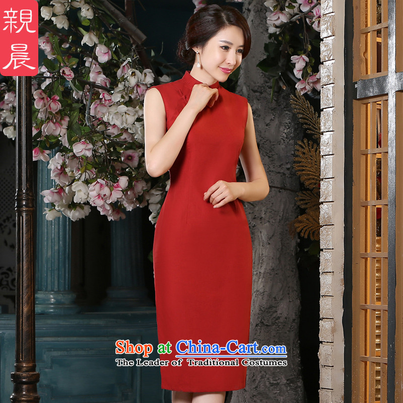 The pro-am new cheongsam dress 2015 Summer female retro daily improved fashion, long cotton linen cheongsam dress in long?XL