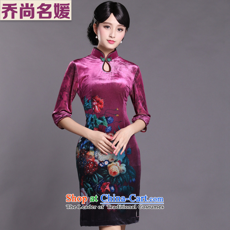 Joe was aristocratic cheongsam dress dresses Kim velvet banquet cuff Tang dynasty HGR007 improved red聽XL