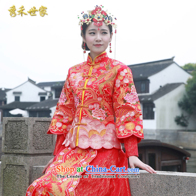 Sau Wo Saga Soo-hee-service costume Wo Chinese wedding gown?2015 new bride bows to the dragon spring and summer services use marriage qipao Bong-Koon-hsia large red?M of previous Popes are placed.