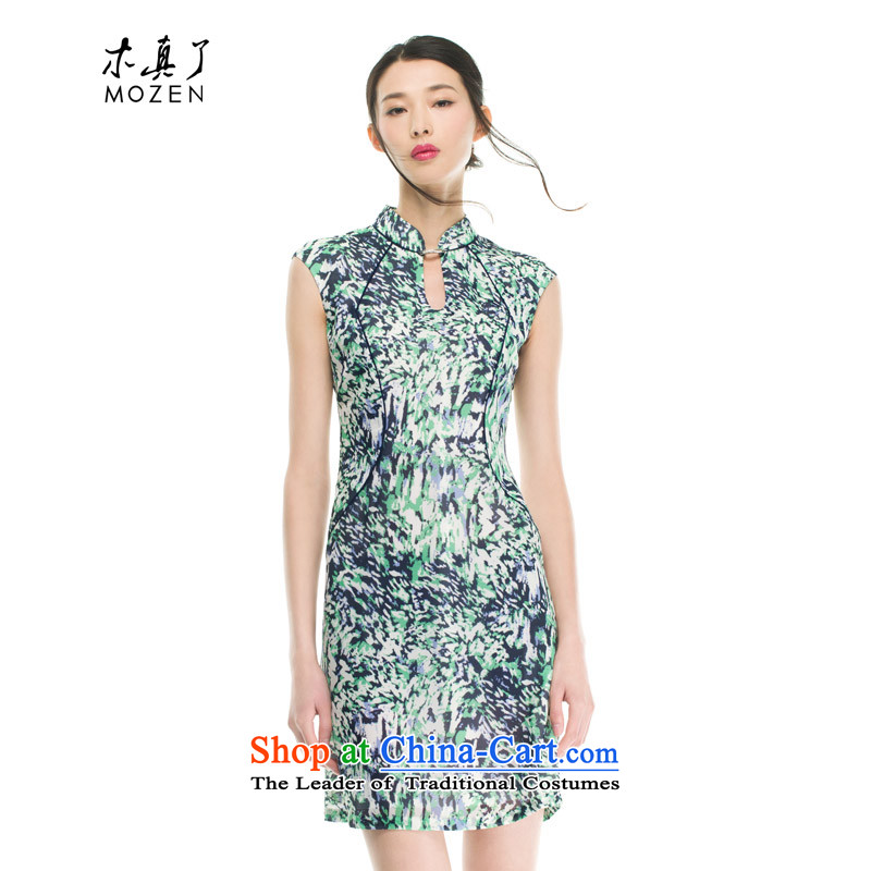 The women's true : Korea imported stretch chiffon cheongsam dress for summer 2015 new products 42909 15?Xxl(b) light green