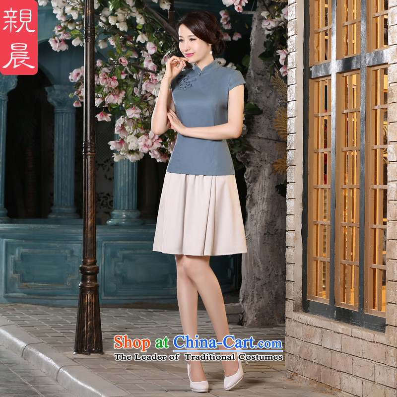 The pro-am new cotton linen cheongsam dress 2015 summer daily retro style cotton linen qipao improved female T-shirt + skirts shirt聽XL