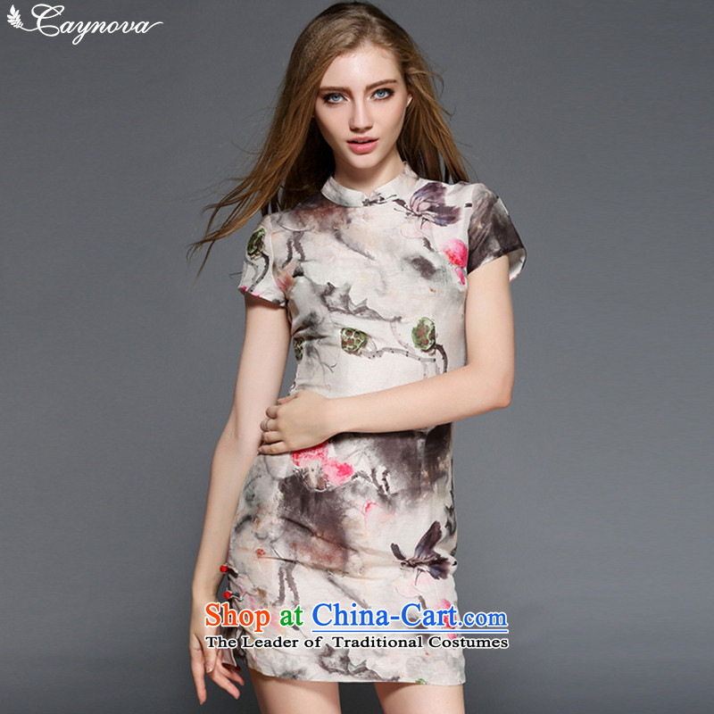 Caynova2015 Summer New China wind aristocratic temperament elegant qipao color picture stamp Sau San聽XL