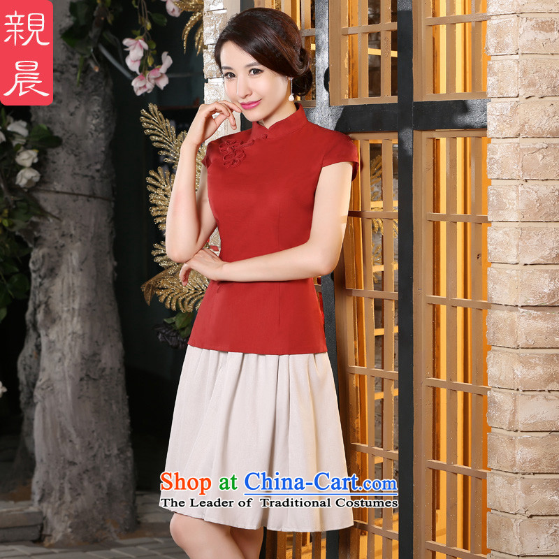 The pro-am New Clothes Summer qipao 2015 Ms. improved Stylish retro daily cotton linen cheongsam dress shirt + skirts M