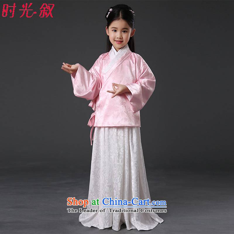 The Syrian children of time Winter Han-women's clothing girls skirt fairies princess serving women in Algeria skirt system pleated skirts ancient green child care services show girls Han-pink 150