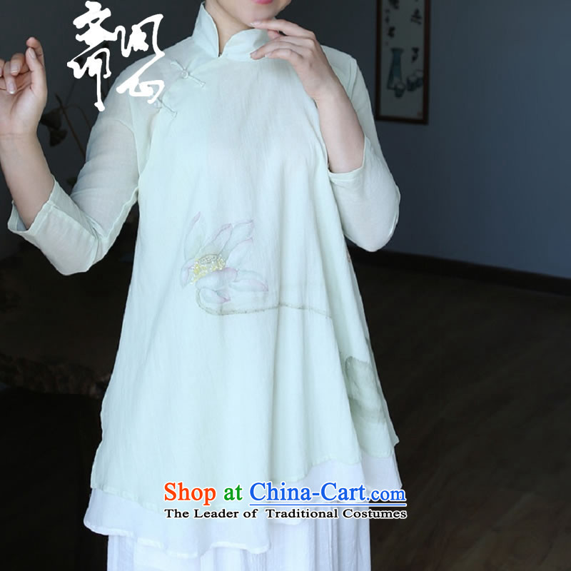 Ask the heart of Ramadan _MING HEART HEALTH summer female new Chinese fine cotton shirt hand-painted elegant double shirt 2403 light green _598 per capita code