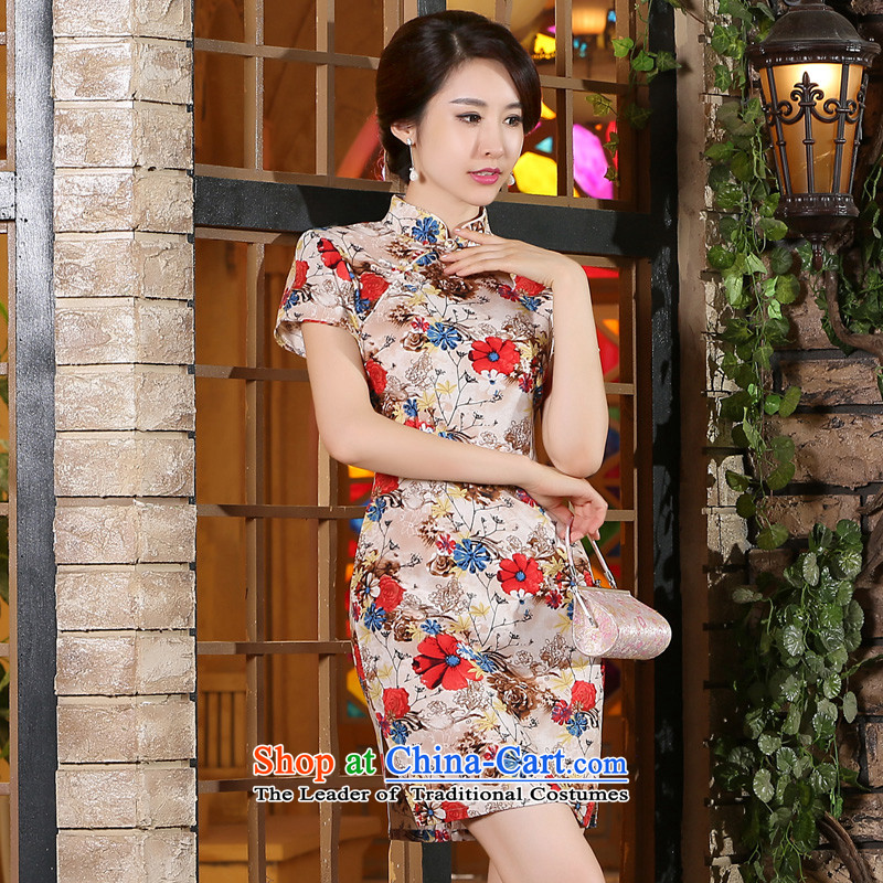 Adam Cheng summer morning pro-to-day improved new retro cotton linen cheongsam dress saika traditional ethnic cheongsam dress suits Sau San 2XL