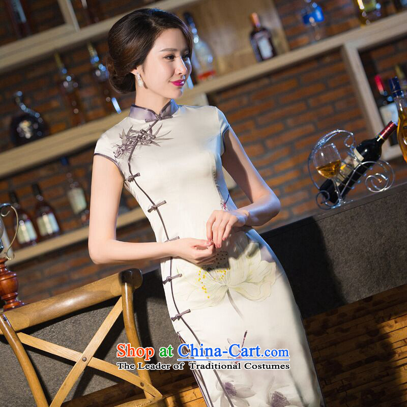 Dan breathing new for women of Chinese qipao improved collar manually tray clip retro Silk Cheongsam melodie dinner long聽XL