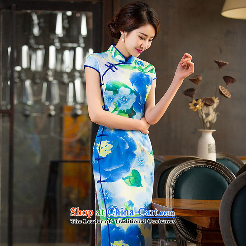 It the new president retro dresses Chinese collar Sau San video thin improved long green dress in the ordinary course of Qipao?L