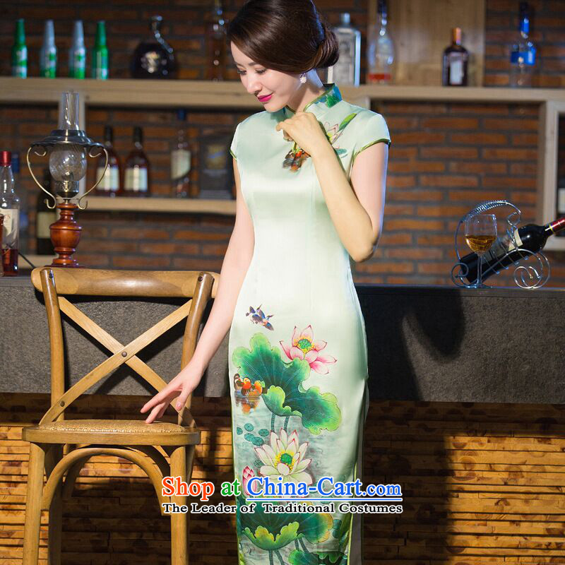 Dan smoke cheongsam long water droplets Mock-neck Sau San video thin daily short-sleeved Chinese cheongsam dress improved long gown Tsing start  S