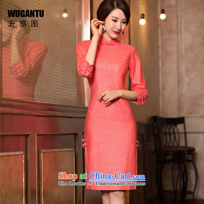 The five senses Figure Boxed new retro autumn wind stylish improvements of the Republic of Korea 7 cuff cheongsam dress?WGT1076 dress?photo color?M