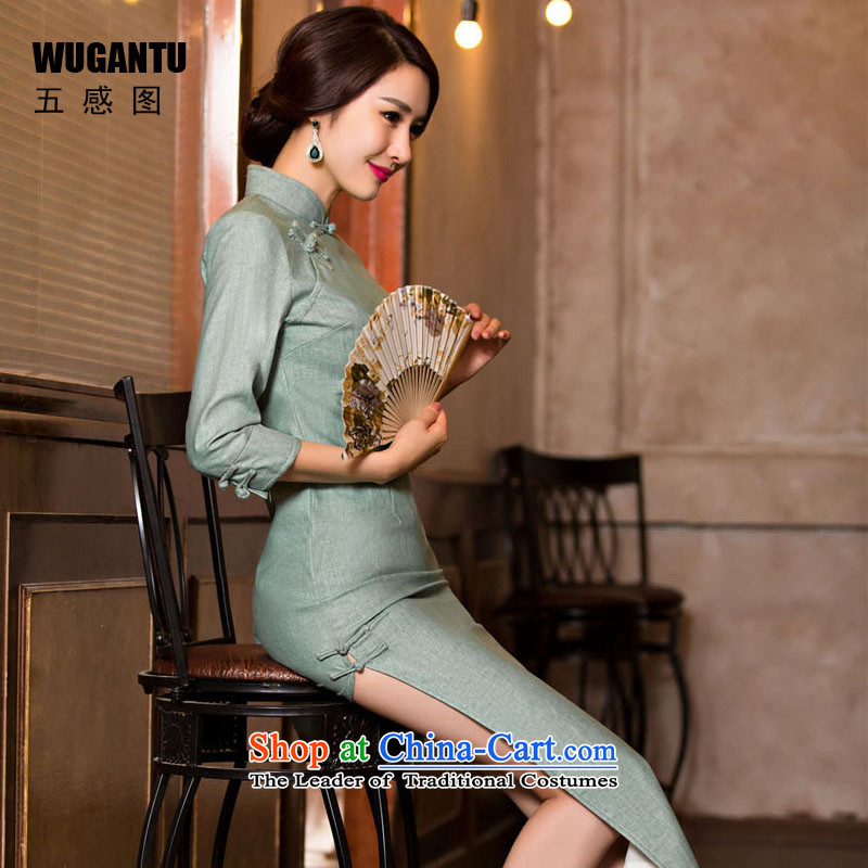 The five senses figure fall inside a new women's retro style of the Republic of Korea, a new summer improved Sau San long cheongsam dress 7 Cuff Color Picture dress M
