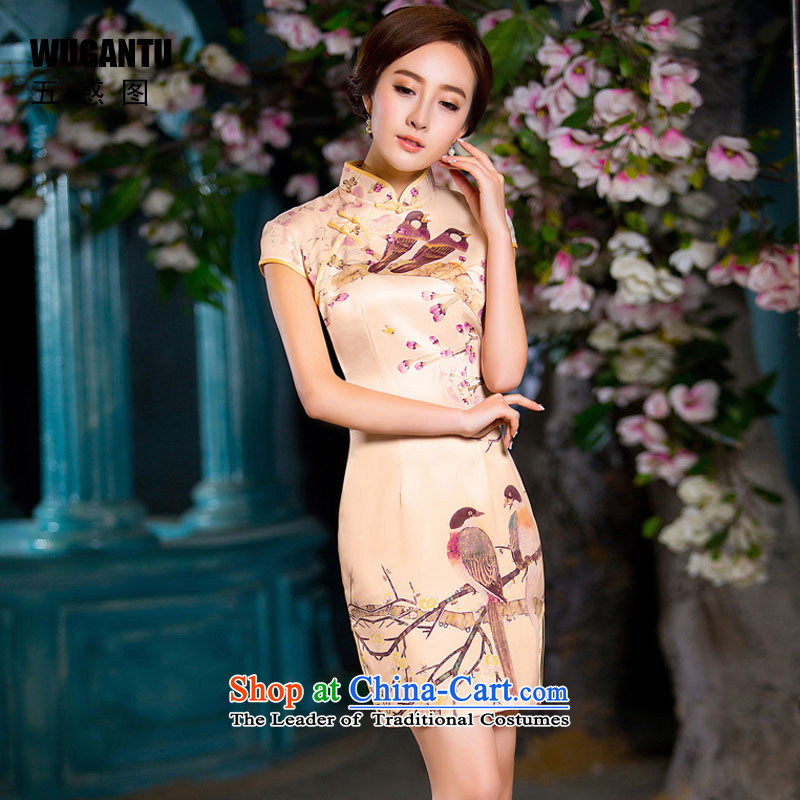 The five senses figure daily fashion improved Silk Cheongsam short skirt China wind 2015 Summer new cheongsam picture color燤