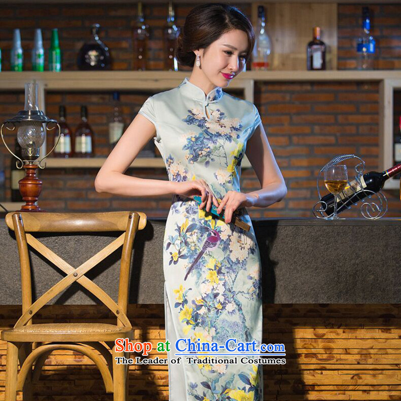 Dan smoke new summer video thin temperament performances qipao water droplets collar silk Chinese cheongsam dress dresses improved long unheard Yoo?2XL
