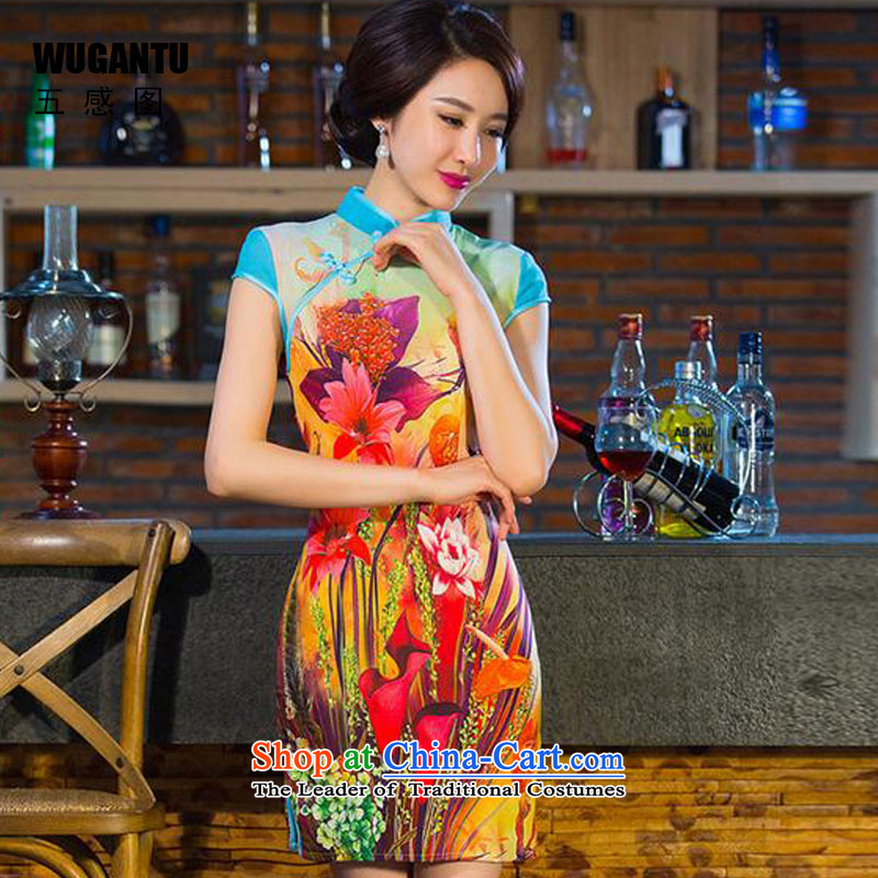 The five senses figure daily fashion improved Sau San stitching cheongsam dress Summer 2015 new short qipao female Suit M