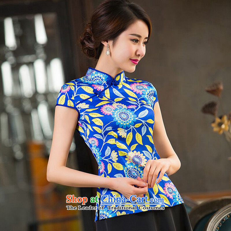 Dan smoke short-sleeved T-shirt qipao summer Ms. Tang Dynasty Chinese New improved silk collar retro Tang dynasty blue Ling聽XL