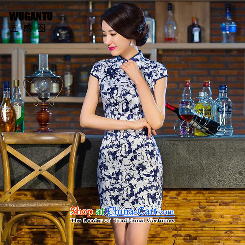 Five-sense爄n the summer of 2015 figure new women's daily improved retro short of cheongsam dress China wind of ethnic women爏 suits Cheongsam
