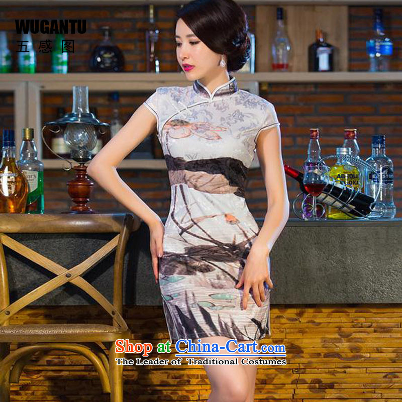 The five senses the爊ew nation 2015 figure paintings in tray snap-collar short of qipao cotton jacquard dresses short qipao female picture color燤