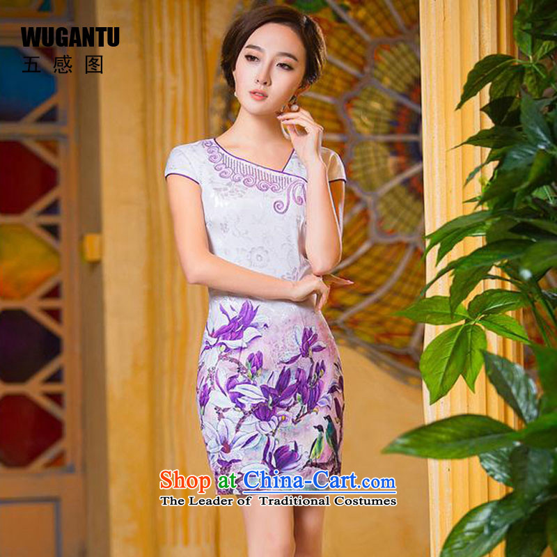 The five senses figure for summer 2015 new female qipao on-chip cotton jacquard Sau San short cheongsam dress China wind ethnic picture color L