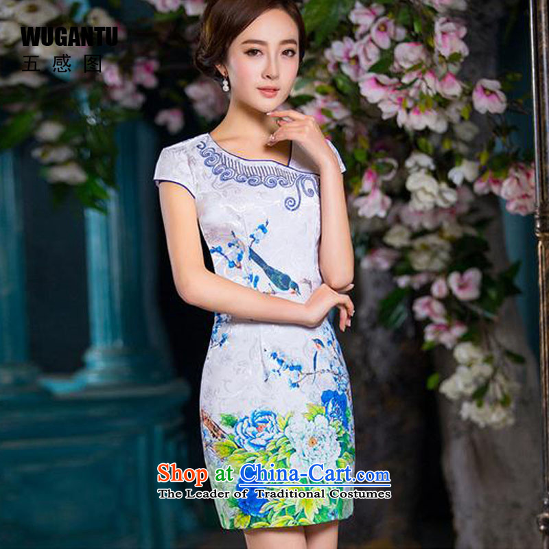 The five senses figure for summer 2015 new embroidery short, temperament cotton jacquard Sau San cheongsam dress China wind short qipao female picture color XL