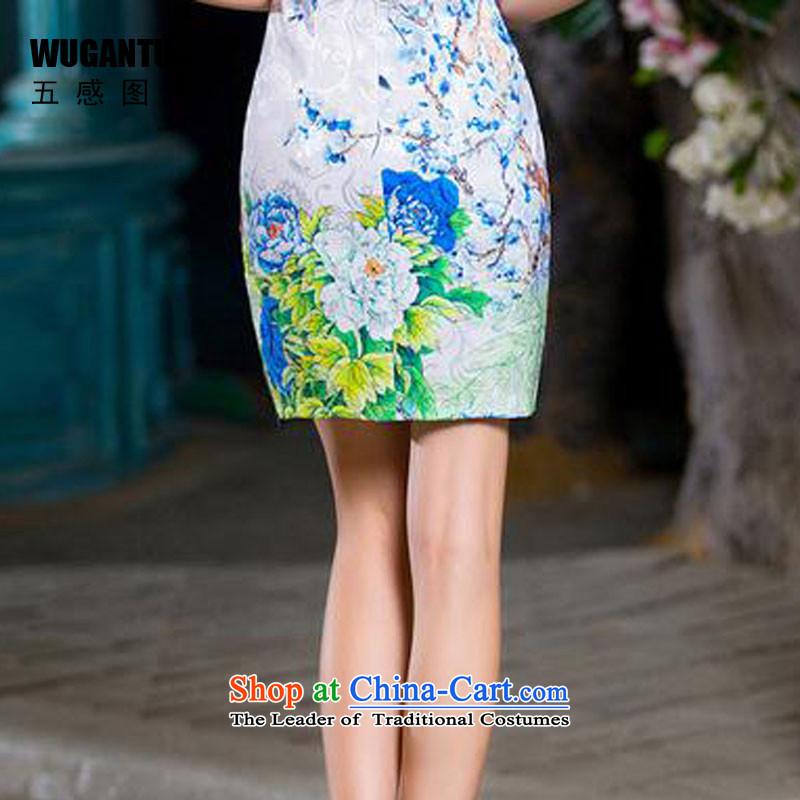 The five senses figure forsummer 2015 new embroidery short, temperament cotton jacquard Sau San cheongsam dress China wind short qipao female picture colorXL, five-sense figure (WUGANTU) , , , shopping on the Internet