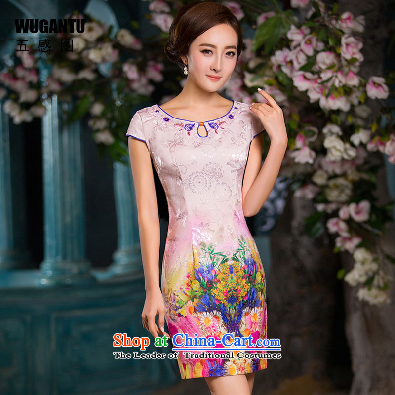The five senses the new summer 2015 figure daily short of Sau San qipao stylish dresses cotton jacquard Ms. China wind qipao female picture color L