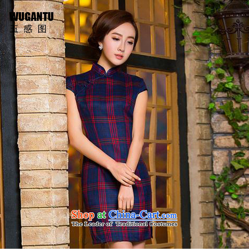 The five senses the new summer 2015 figure daily short, the Republic of Korea retro improved Sau San latticed cotton cheongsam dress photo color S