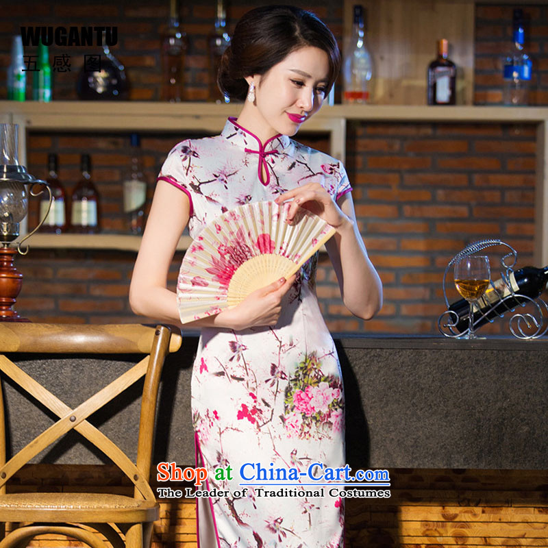 Five-sense 2015 Summer new upscale figure Silk Cheongsam daily improvement of the Sau San long skirt dress China wind qipao female suit XL