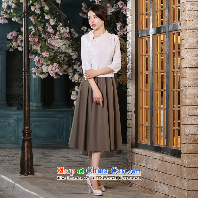 The new 2015 pro-morning with cotton linens autumn and winter day-to improve the Tang dynasty women shirts qipao in cuff dresses shirt + khaki skirt�L