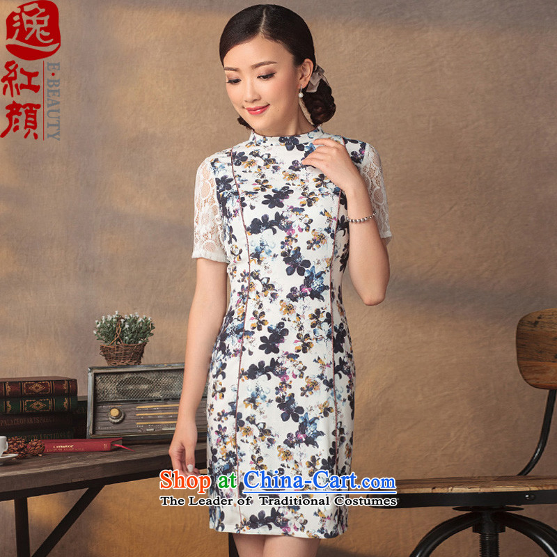 A Pinwheel Without Wind Yat dream cheongsam dress 2015 Summer improved stylish chiffon lace ethnic stamp cuff dresses floral 2XL