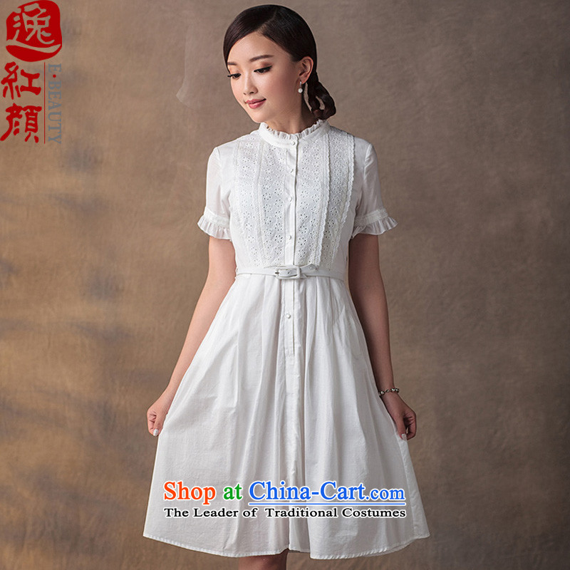 A Pinwheel Without Wind Oppenheimer Yat cheongsam dress 2015 Summer improved cotton elegant retro ethnic cheongsam dress boutique White聽XL