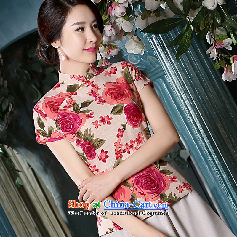 The pro-am for summer 2015 new women's Chinese shirt cotton linen flax ethnic daily stylish shirt female qipao improved 2XL