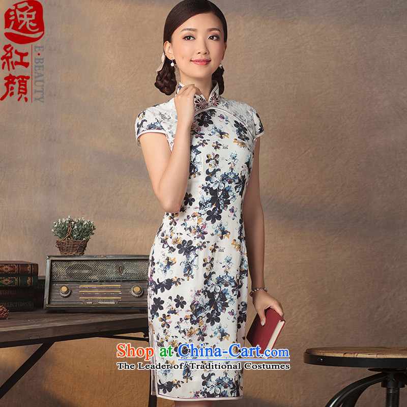 A Pinwheel Without Wind Yat dream new stylish Summer 2015 improved qipao Sau San national blizzard woven skirts large stamp qipao XL