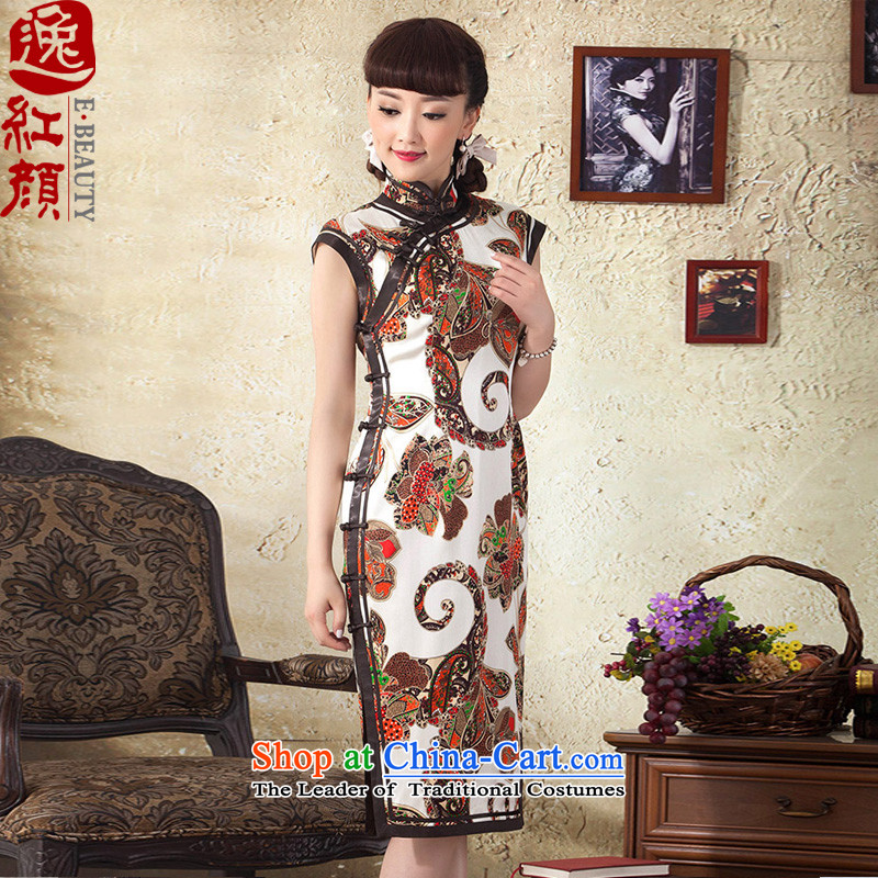 A Pinwheel Without Wind thoughts Yat 2015 new improved summer qipao retro improved Sau San stamp long qipao Brown M