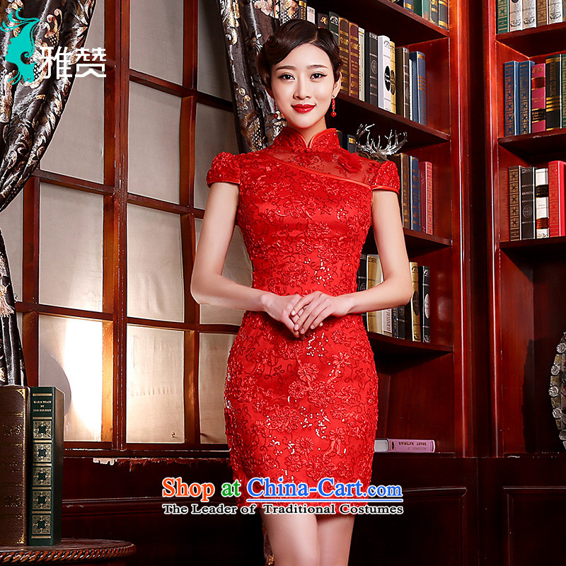 Jacob Chan bride cheongsam dress bows service, flower spring and summer 2015 new wedding Chinese wedding dress female fluoroscopy sexy beauty red燲L