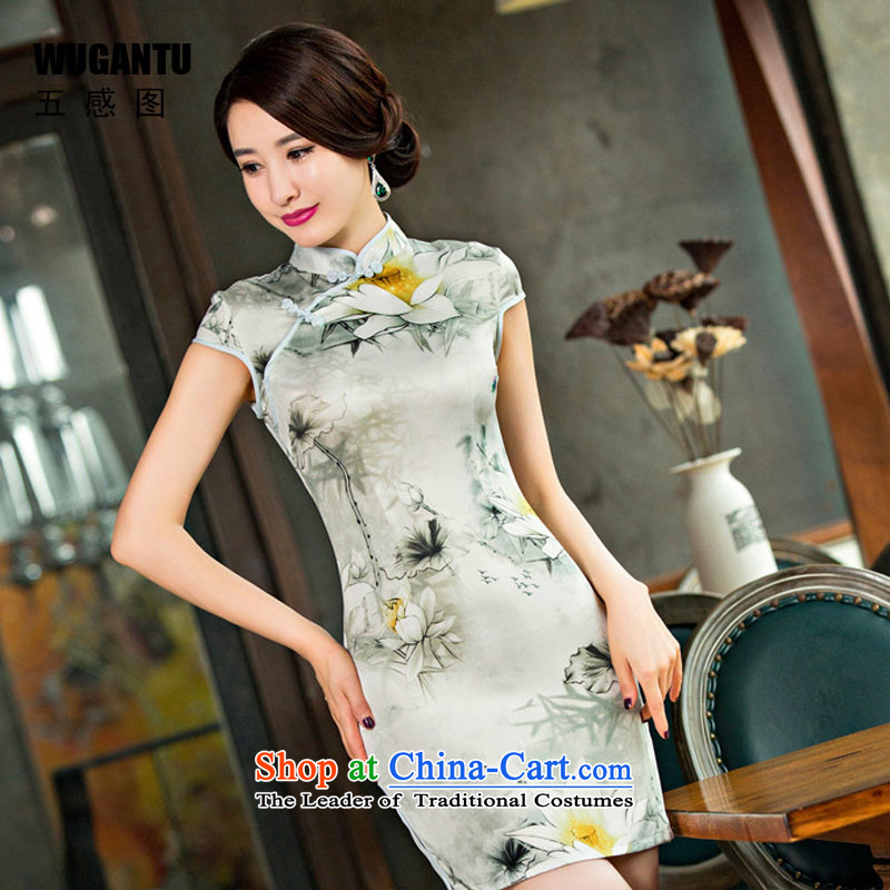 The five senses a new summer of 2015 figure silk dress elegant qipao digital printing qipao Sau San dresses picture color XXL