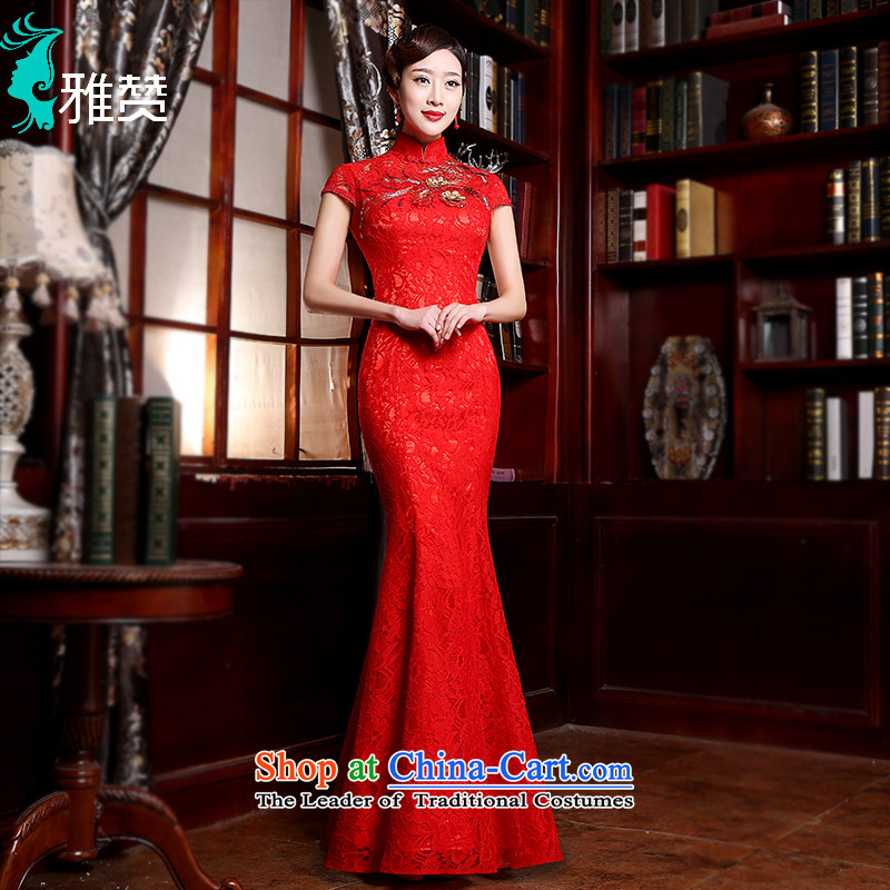 Jacob Chan bridal dresses wedding services improved. crowsfoot bows dresses 2015 Spring/Summer new lace wedding dress Sau San long red?L
