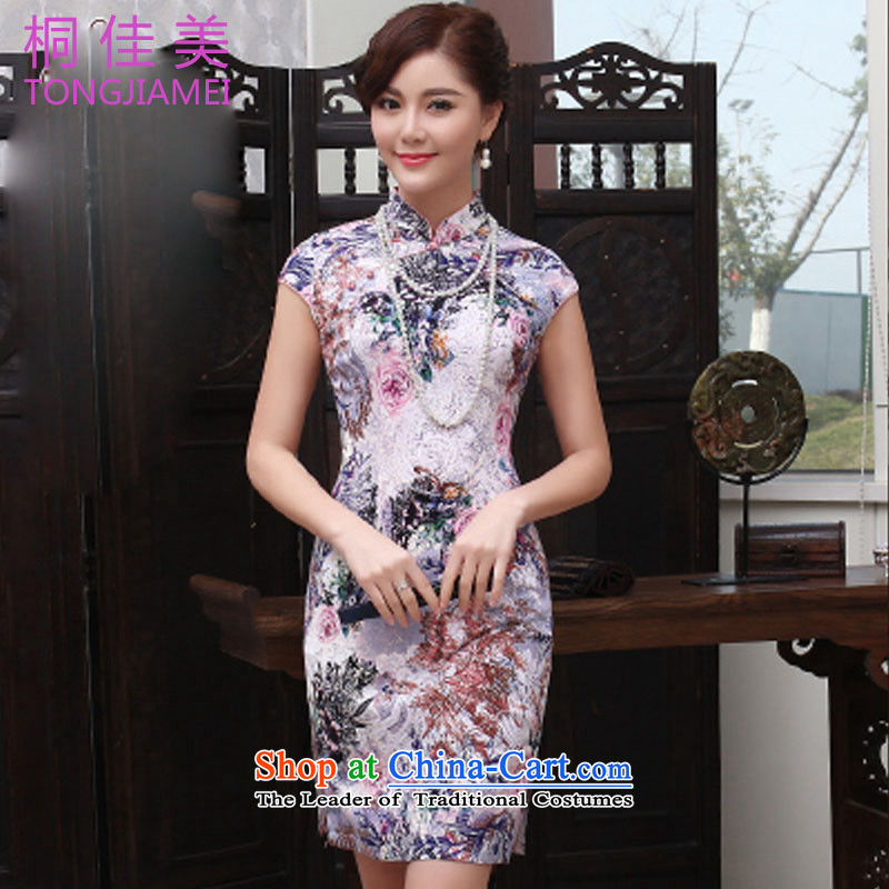 The Zaytun Unit Jia Mei?2015 new products cheongsam dress Stylish retro short of improved qipao skirt daily short-sleeved larger female population?5XL land