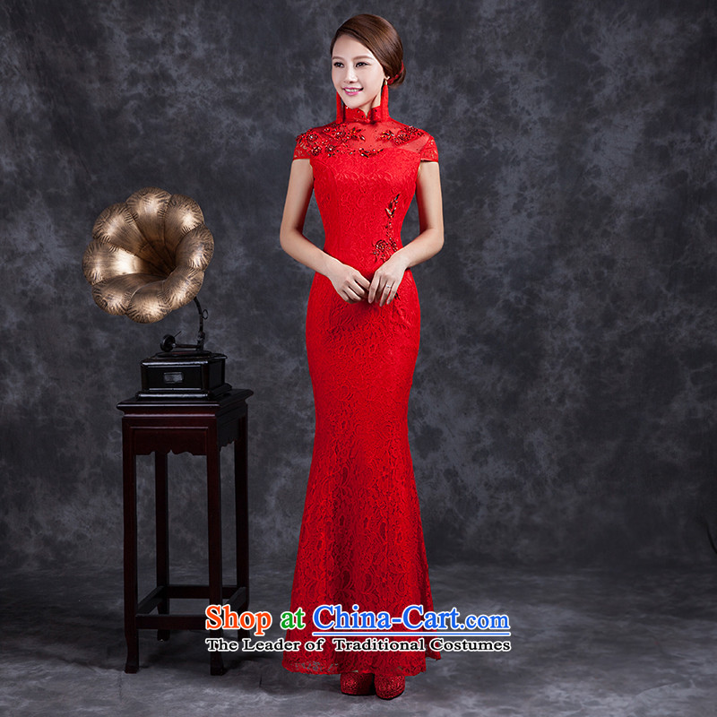 Ya Arts Workshop 2015 new bride with bore wedding dress retro improved stylish long red bows to lace qipao SS194 QIPAO RED M