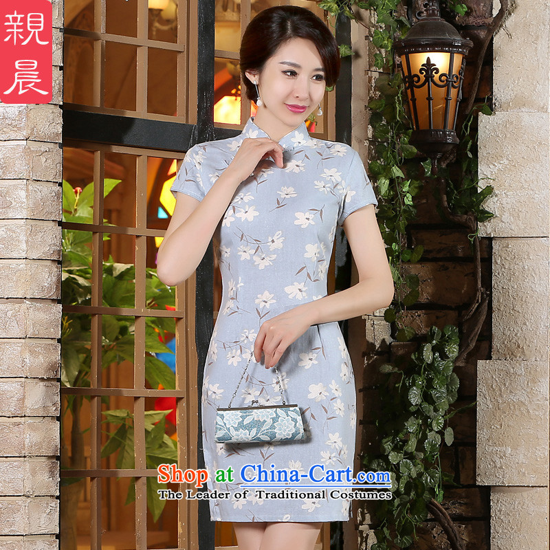 The pro-am new cotton linen cheongsam dress short of 2015 Summer improved Stylish retro Ms. daily cheongsam dress short, L