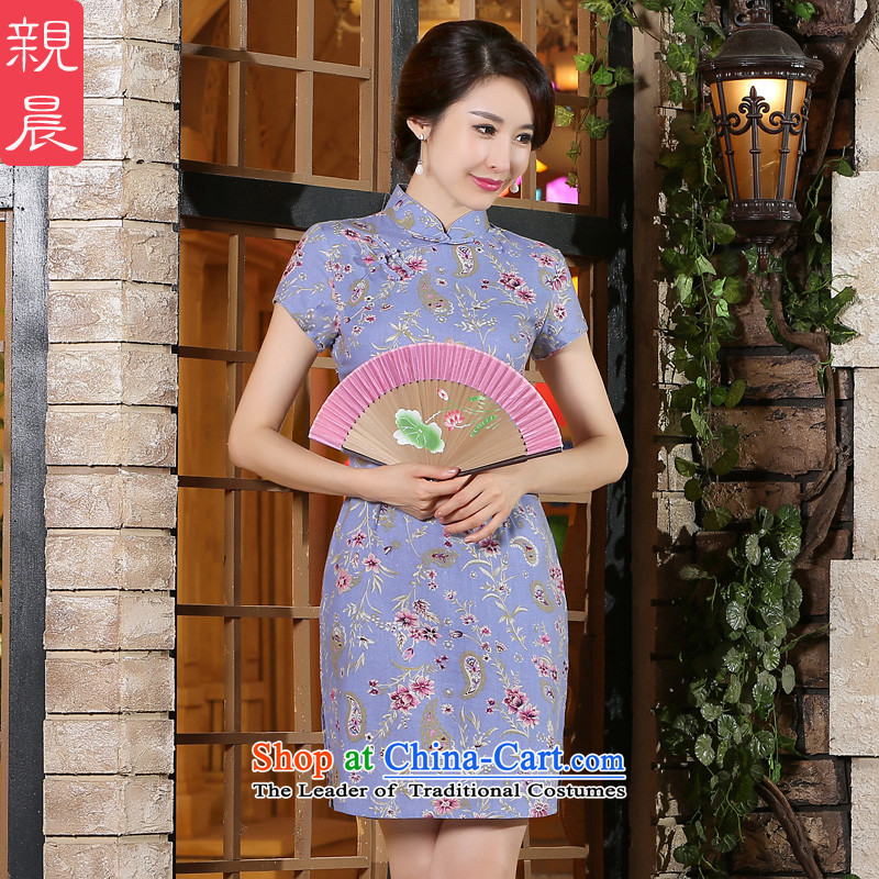 The pro-am new cotton linen cheongsam dress 2015 Ms. summer retro style qipao daily dress improved short, Short, S