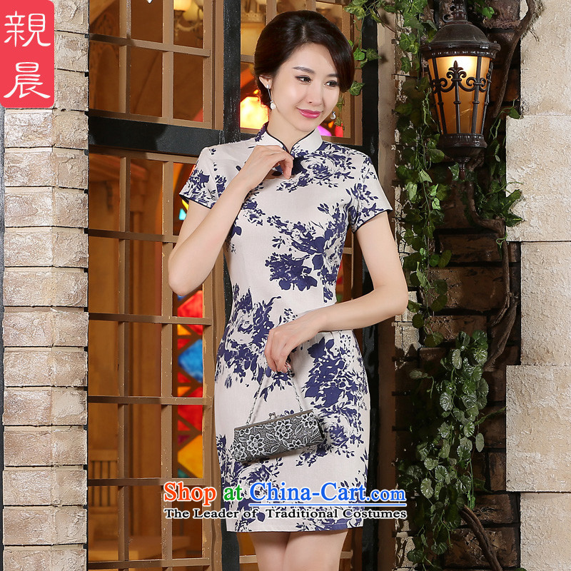 The pro-am new cotton linen cheongsam dress short summer 2015) Ms. Stylish retro daily improved cheongsam dress short, 2XL