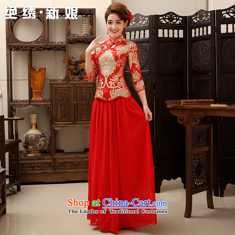 Embroidered bride?2015 winter is by no means new services thick retro look like toasting champagne long long-sleeved CHINESE CHEONGSAM without cotton single?XL?Suzhou Shipment